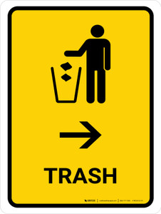 Trash With Right Arrow Yellow Portrait - Wall Sign
