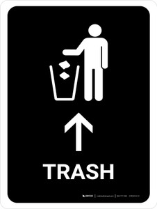 Trash With Up Arrow Black Portrait - Wall Sign