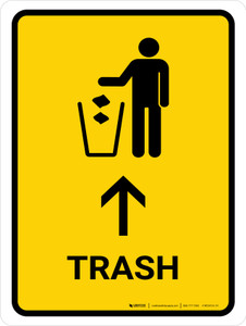 Trash With Up Arrow Yellow Portrait - Wall Sign