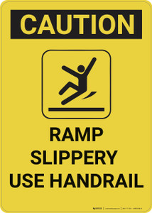 Caution: Ramp Slippery Use Handrail - Wall Sign