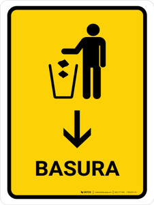 Trash With Down Arrow Yellow Spanish Portrait - Wall Sign