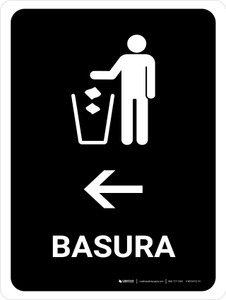 Trash With Left Arrow Black Spanish Portrait - Wall Sign