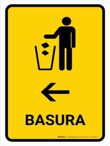 Trash With Left Arrow Yellow Spanish Portrait - Wall Sign