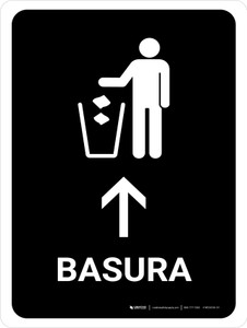Trash With Up Arrow Black Spanish Portrait - Wall Sign