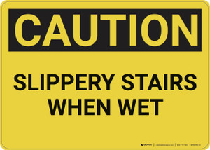 Caution: Slippery Stairs When Wet - Wall Sign