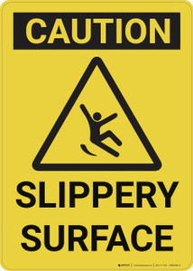 Caution: Slippery Surface Caution - Wall Sign