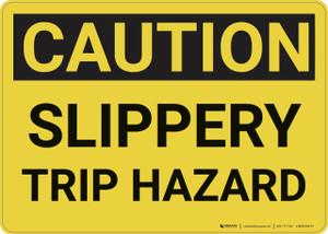 Caution: Slippery Trip Hazard - Wall Sign