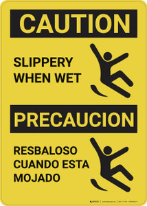 Caution: Slippery When Wet Bilingual Vertical - Wall Sign
