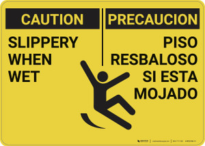 Caution: Slippery When Wet Bilingual - Wall Sign