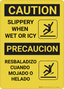 Caution: Slippery When Wet or Icy - Wall Sign