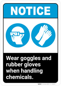 Notice: Wear Goggles Rubber Gloves Handling Chemicals ANSI - Wall Sign
