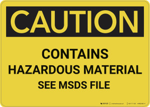 Caution: Contains Hazardous Material See MSDS - Wall Sign