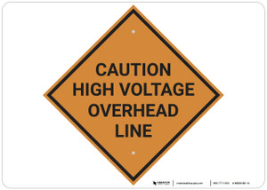 Caution: Crossing Caution High Voltage Overhead Line - Wall Sign