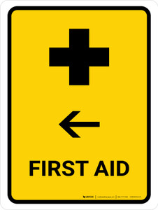 First Aid With Left Arrow Yellow Portrait - Wall Sign