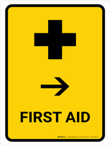 First Aid With Right Arrow Yellow Portrait - Wall Sign