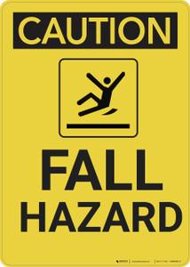 Caution: Fall Hazard Vertical - Wall Sign