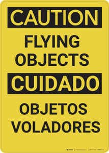 Caution: Flying Objects Bilingual - Wall Sign