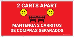 2 Carts Apart with Emojis Bilingual Red - Banner