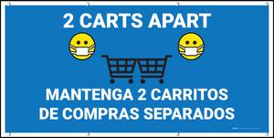 2 Carts Apart with Facemask Emojis Bilingual Blue - Banner