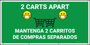 2 Carts Apart with Facemask Emojis Bilingual Green - Banner