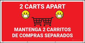 2 Carts Apart with Facemask Emojis Bilingual Red - Banner