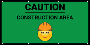 Caution Construction Area with Emoji Green - Banner