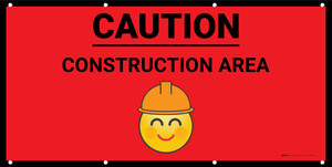 Caution Construction Area with Emoji Red - Banner
