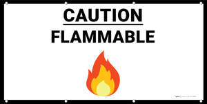 Caution Flammable with Emoji - Banner