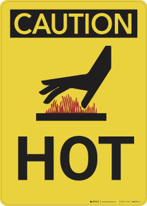 Caution: Hot Vertical - Wall Sign