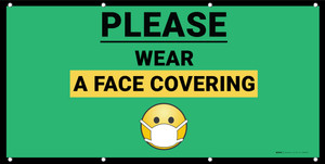 Please Wear a Face Covering with Facemask Emoji Green - Banner