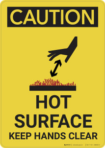 Caution: Hot Surface Keep Hands Clear - Wall Sign
