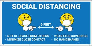 Social Distance 6ft Blue with Facemask Emojis - Banner