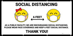 Social Distancing We are Encouraging Social Distancing with Emojis - Banner