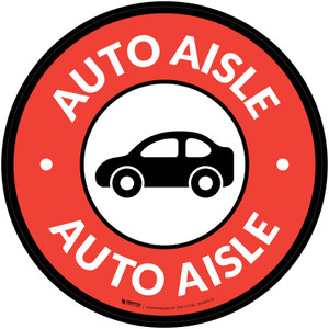 Auto Aisle with Icon Circle - Floor Sign