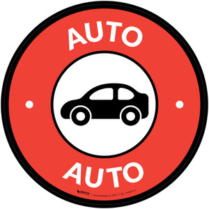 Auto with Icon Circle - Floor Sign