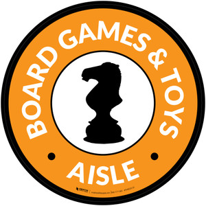 Board Games and Toys Aisle with Icon Circle - Floor Sign