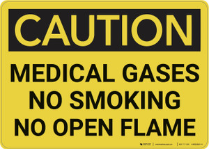 Caution: Medical Gases No Smoking - Wall Sign
