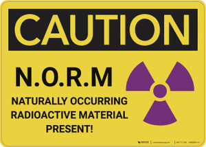 Caution: Naturally Occurring Radioactive Material - Wall Sign