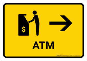 ATM With Right Arrow Yellow Landscape - Wall Sign