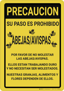 Caution: Bee Safety Spanish - Wall Sign