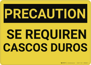 Caution: Hard Hats Required Spanish - Wall Sign