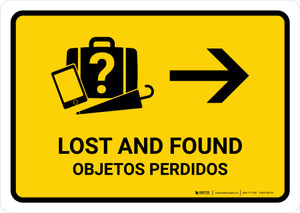 Lost And Found With Right Arrow Yellow Bilingual Landscape - Wall Sign