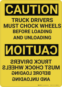 Caution: Mirrored Truck Drivers Must Chock Wheels - Wall Sign