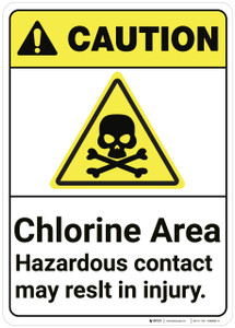 Caution: Chlorine Area Hazardous ANSI - Wall Sign