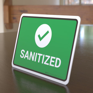 Sanitize with Icon Landscape - Desktop Sign