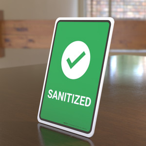 Sanitize with Icon Portrait - Desktop Sign