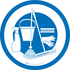 Cleaning Supplies Graphic Circle - Floor Sign