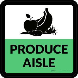 Produce Aisle Retail Square - Floor Sign
