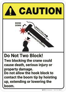 Caution: Do Not Two Block Crane ANSI  - Wall Sign
