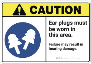 Caution: Ear Plugs Must Be Worn In This Area ANSI - Wall Sign